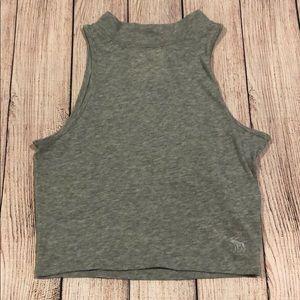 Grey Mock Neck Crop Top